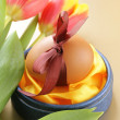 Decorated eggs and spring flowers tulips - symbols of Easter holiday — Stock Photo #19456261