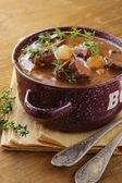 Traditional french beef goulash - Boeuf bourguignon — Stock Photo