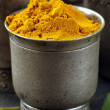 Curcuma spice in metal bowl macro shot soft focus - Stock Photo