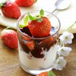 Dairy dessert with chocolate sauce and strawberries — Stock Photo #21027787