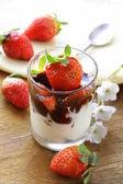 イチゴとチョコレート ソースの乳製品、デザート — ストック写真