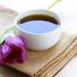 Cup of black coffee and flower tulip — Stock Photo