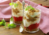 Dairy dessert with strawberries, trifle in glasses — Stock Photo