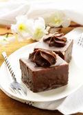 Mini chocolate cake with marshmallow cream — Stock Photo