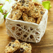 Crispy cookies with sunflower seeds and raisins — Stockfoto