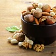 Mix nuts - walnuts, hazelnuts, almonds on a wooden table — Stock Photo #22610341