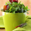 Mix salad (arugula, iceberg, red beet) in a bowl  — Stock Photo