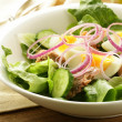 French salad Nicoise - with tuna and egg — Stock Photo