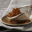 Cocoa powder in a metal sieve with a gray background — Stock Photo