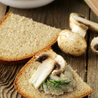 Champignon mushroom pate with rye bread and dill — Stock Photo #23630341