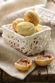 Cookies in the form of nuts in a white basket — Stock Photo
