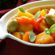 Vegetable stew  with olives and red pepper - Stock Photo