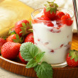 Dairy dessert - yogurt with fresh strawberries in a glass — Stock Photo