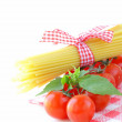 Italian still life - pasta, tomato and basil, healthy food — Stock Photo
