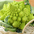 Stock Photo: Romanesco cauliflower on a wicker tray