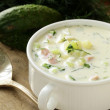 Traditional Russian cold soup with vegetables (okroshka) — Stock Photo #26254745