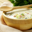 Traditional Russian cold soup with vegetables (okroshka) — Stock Photo