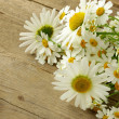 Stock Photo: Bouquet of fresh daisies on a wooden background