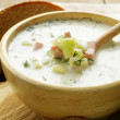 Traditional Russian cold soup with vegetables (okroshka) — Stock Photo #26488149