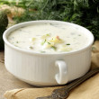 Traditional Russian cold soup with vegetables (okroshka) — Stock Photo #26488175