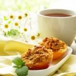 Baked peaches healthy summer dessert — Stock Photo #26554167