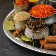 Collection of various spices (paprika, turmeric, pepper, aniseed, cinnamon, saffron) — Stock Photo