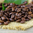 Macro shot of coffee beans on natural background — Stock Photo