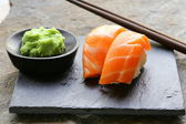 Sushi with salmon - traditional Japanese food — Stock Photo