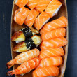 Stock Photo: Assorted sushi with salmon, shrimp and eel - traditional Japanese food