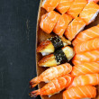 Assorted sushi with salmon, shrimp and eel - traditional Japanese food — Stock Photo