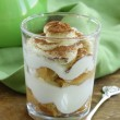 Stock Photo: Italidessert tiramisu (mascarpone, savoiardi) in glass