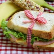 Sandwich with ham, apple, banana and granola bar - healthy eating, school lunch — Foto Stock