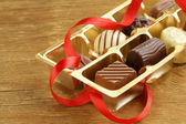 Gift box of chocolate candies — Stock Photo
