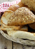 Different types of bread (rye bread, white loaf, bun) — Stok fotoğraf