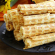 Wafer rolls, dessert for Halloween holiday — Stock Photo #29890693