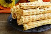 Wafer rolls, dessert for Halloween holiday — Stock Photo