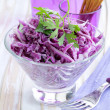 Cole Slaw salad of red cabbage with parsley and mayonnaise — Stock Photo