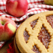 Homemade apple pie on a wooden table — Stock Photo