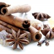 Stockfoto: Christmas spices - cinnamon, cloves, star anise on white background