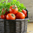 Fresh ripe tomatoes in a basket on the table — Stock Photo