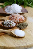 Different types of salt (pink, sea, black, and with spices) — Stock Photo
