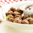 Stock Photo: Meatballs - traditional meat dish with sauce and herbs