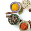Stock Photo: Different kinds of spices in ceramic bowls