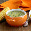 Stock Photo: Soup of fresh yellow corn served on wooden table