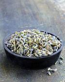 Fragrant violet lavender dried condiment — Stock Photo