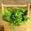 Various herbs (basil, thyme, parsley, mint and dill) on wooden background — Stock Photo