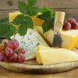 Cheeseboard (Maasdam, Roquefort, Camembert) and grapes for dessert — Stock Photo #32631037