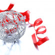 Silver Christmas ball (decoration) with a red ribbon — Stock Photo #32631199