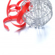 Silver Christmas ball (decoration) with a red ribbon — Stock Photo #32631217