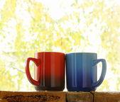 Dvě barevné hrnečky v podzimní pozadí — Stock fotografie